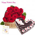 Roses & Black Forest Cake - Basket of 15 Red Roses, Black Forest Heart Cake 1 kg and Card