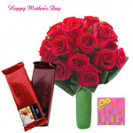 Roses & Temptation - 25 Red Roses, 2 Cadbury Temptations and Card