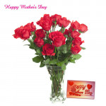 Roses for You - 15 Red Roses in Vase and Card