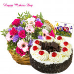 Royal Gifts - 50 Assorted Flower Basket, Five Star Black Forest Cake 1 Kg and Card