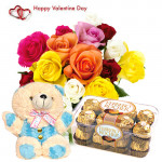 "Exotic Combo - 24 Mix Roses in Vase + Teddy 6"" + Ferrero Rocher 16 pcs + Card"