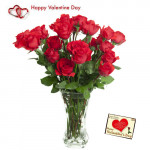 Special Love - 12 Red Rose in Vase + Card