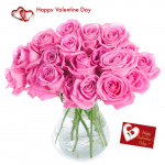 For Love - 15 Pink Roses in Vase + Card