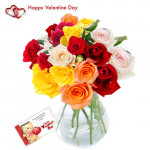 Lovely Flowers - 24 Assorted Roses in Vase + Card