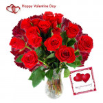 Mixed Emotions - 10 Red Roses & 10 Carnations in Vase + Card