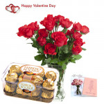 Yours Forever - 12 Red Roses in Vase + Ferrero Rocher 16 pcs + Card