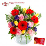 Wonderful Gift - 30 Assorted Flowers in Vase + Card