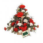 Beautiful Basket - 20 Red & White Carnations Basket + Card