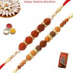 Set of 2 Rakhis - Sandalwood with Rudraksha Rakhis