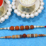 Set of 2 Rakhis - Sandalwood with Rudraksha Rakhis