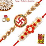 Set of 2 Rakhis - Auspicious with American Diamond Rakhi