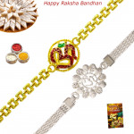 Set of 2 Rakhis - Golden Plated with Silver Plated Rakhi