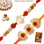 Set of 2 Rakhis - Rakhi Thread with Rudraksha Rakhis