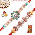 Set of 2 Rakhis - American Diamond with Fancy Rakhi