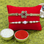Set of 2 Rakhis - Golden Plated with Pearl Rakhi