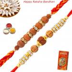 Set of 2 Rakhis - Rudraksha and Sandalwood Rakhis