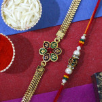 Set of 2 Rakhis - Golden Plated and Mauli Rakhi