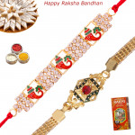 Set of 2 Rakhis - Golden Plated with Auspicious Rakhi