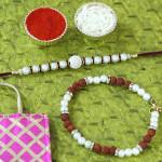 Set of 2 Rakhis - Bracelet with Pearl Rakhi