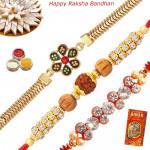 Set of 3 Rakhis - Golden Plated with Fancy and Rudraksha Rakhis
