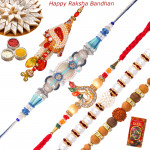 Set of 5 Rakhis - American Diamond with Sandalwood, Lumba, Pearl and Fancy Rakhis