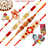 Set of 5 Rakhis - Pearl with American Diamond, Sandalwood, Auspicious and Kids Rakhi