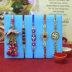 Set of 5 Rakhis - Mauli with Auspicious, Rudraksha, Fancy Rakhis and Lumba