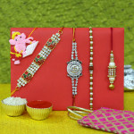 Set of 5 Rakhis - Auspicious, Mauli, Rudraksha, Lumba and Kids Rakhis