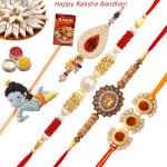 Set of 5 Rakhis - Lumba with Rudraksha, American Diamond, Pearl and Kids Rakhi