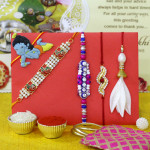 Set of 5 Rakhis - Lumba with Auspicious, Fancy, American Diamond and Kids Rakhi