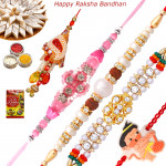 Set of 5 Rakhis - Lumba with Mauli, Pearl, Fancy and Kids Rakhi