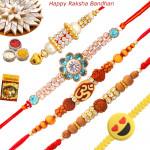 Set of 5 Rakhis - American Diamond with Sandalwood, Lumba, Rudraksha and Kids Rakhis