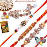 Set of 5 Rakhis - Mauli with Sandalwood, Fancy, Lumba and Kids Rakhi