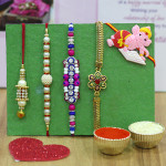 Set of 5 Rakhis - Golden Plated with Pearl, Fancy, Lumba and Kids Rakhi