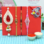 Set of 5 Rakhis - Golden Plated with Fancy, Sandalwood, Lumba and Kids Rakhi