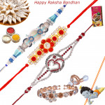 Set of 5 Rakhis - Auspicious with Fancy, American Diamond, Lumba and Kids Rakhi