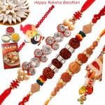 Set of 5 Rakhis - Lumba with Fancy, Mauli, Sandalwood and Kids Rakhis