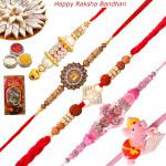 Set of 5 Rakhis - Lumba with American Diamond, Fancy, Sandalwood and Kids Rakhi