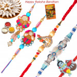 Set of 5 Rakhis - Bhaiya Bhabhi Rakhi Pair with Fancy, Diamond and Kids Rakhi