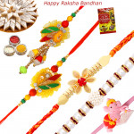 Set of 5 Rakhis - Bhaiya Bhabhi Rakhi Pair with Pearl, Mauli and Kids Rakhi