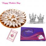 Silver Laxmi Ganesh 20 gms, Kaju Katli 500 gms, Cadbury's Celebrations and Card