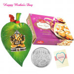 Silver Coin 10 gms, Ganesh Ji On Leaf, Haldiram Soan Papdi 250 gms and Card
