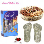 Silver Laxmi Step Pair - 6 gms, Assorted Dryfruits 200 gms in Basket, Mini Celebrations and Card