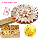 Gold Coin 1 gms, Kaju Katli 250 gms, Assorted Dryfruits 200 gms in Box and Card