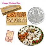 Silver Coin 10 gms, Kaju mix 250 gms, Assorted Dryfruits 200 gms in Box and Card
