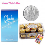 Silver Coin 10 gms, Revlon Charlie Perfume, Ferrero Rocher 16 pcs and Card
