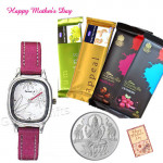 Silver Coin 10 gms, Sonata Watch White Dial Pink Strap, 2 Temptations, 2 Bournville and Card