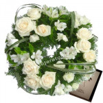 Emotional Wreath - 40 White Roses & Flowers Wreath + Card