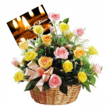 Compassion - 25 Pink & Yellow Roses Basket + Card