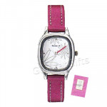Sonata Watch White Dial Pink Strap and Card